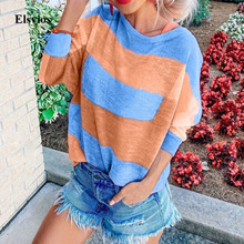 Elsvios Autumn Patchwork Print Knitted Sweaters Women Winter