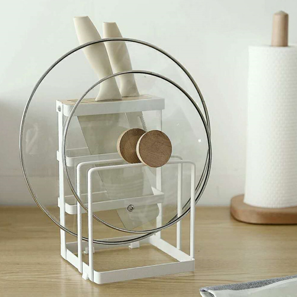 Non Slip Space Saving Durable Cutting Board Supplies Home Desktop Stand Kitchen Chopper Plate Holder Drying Pot Lid Storage Rack