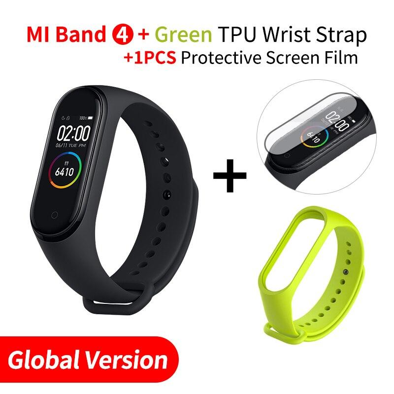 Xiaomi mi Band 4 Smart mi band 3 Цвета экран Браслет фитнес-трекер для измерения сердечного ритма Bluetooth 5,0 водонепроницаемый банда4 - Цвет: EN Add Green Strap