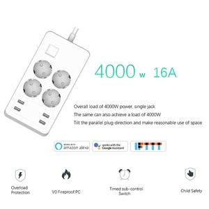 Image 3 - Wifi Smart multiprise protection contre les surtensions Extension 4 prises prises ue avec adaptateur chargeur USB fonctionne avec Alexa Google Home