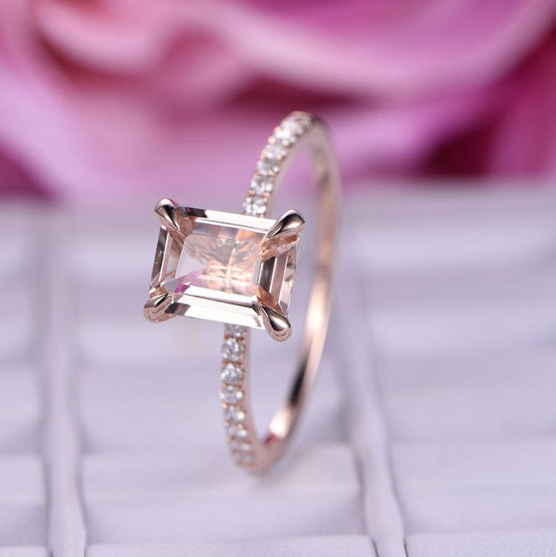 YOBEST Zircon Ring Jewelry Stone Champagne Engagement Rose-Gold-Color Elegant Women