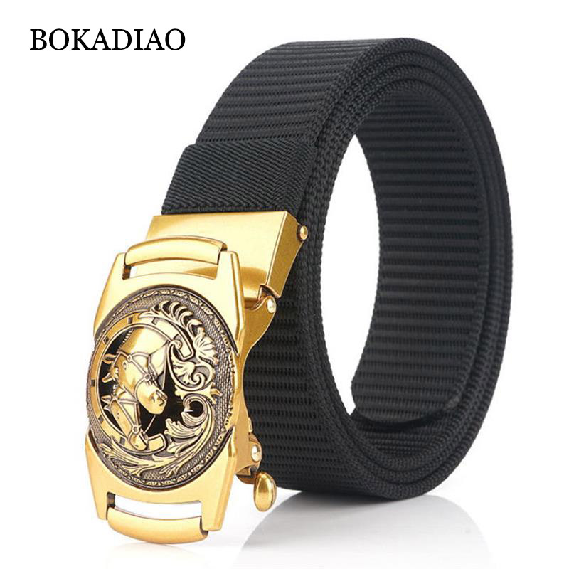 BOKADIAO Nylon Belt Luxury Metal Automatic Buckle Belts For Men Fashion Jeans Belt Outdoor Casual Canvas Male Strap High Quality