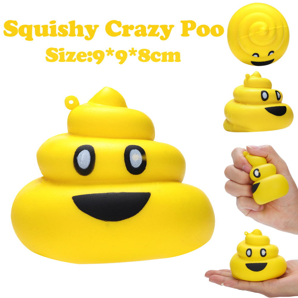 9cm Yellow Crazy Poo Squishies Slow Rising Squeeze Scented Stress Relieve Toy Practical Jokes Toy For Childrens Gift L0116