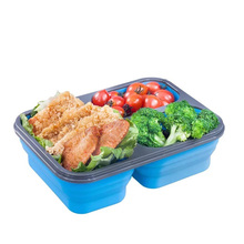 Portable  Silicone Collapsible Lunch Box Containers With Compartments Microwave Leakproof food Containe For school or Offiece