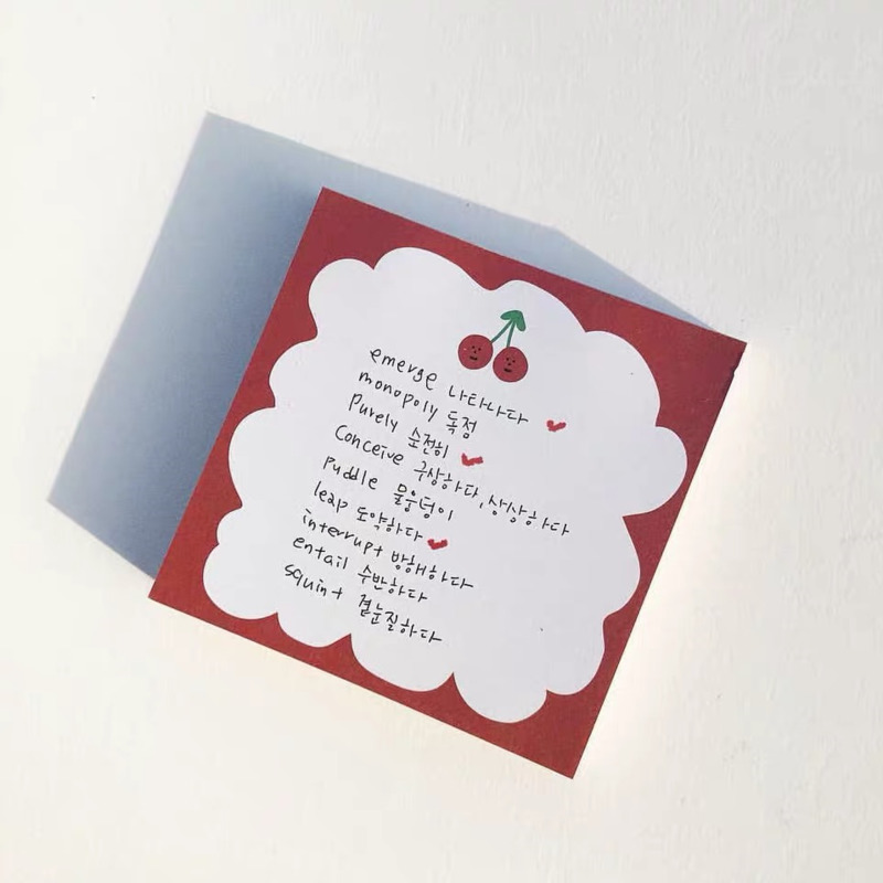 50 arkuszy Ins Hot Cute Cherry notatnik Do zrobienia List czas Sticky Note biurowe karteczki Do notowania Memo wiadomość szkolne artykuły papiernicze