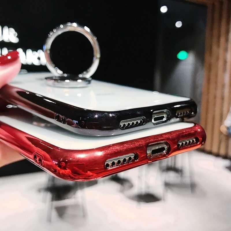 ชุบสีโปร่งใส TPU ซิลิโคนโทรศัพท์สำหรับ iPhone ของ Apple iPhone X 10 11 PRO MAX 6 6 S 7 8 Plus XS XR ฝาครอบ