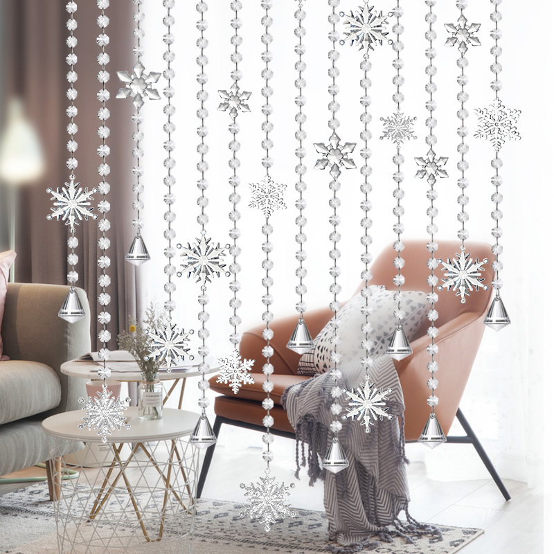 Pure Handmade Clear Snowflake Crystal Bead Curtain Home Decoration Windows Porch Partition Door Curtain Good Glass Octagon Beads