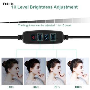 Image 4 - Foleto 16cm LED Selfie sopa halka ışık fotoğrafçılığı makyaj halka lamba ile telefon tutucu için USB fişi canlı akışı Youtube Video