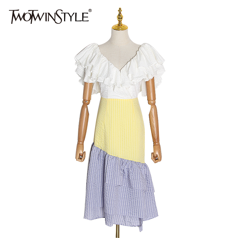 TWOTWINSTYLE Stripe Ruffle Hit Color Women's Dress V Neck Short Sleeve High Waist Dresses Female 2020 Spring Fashion New