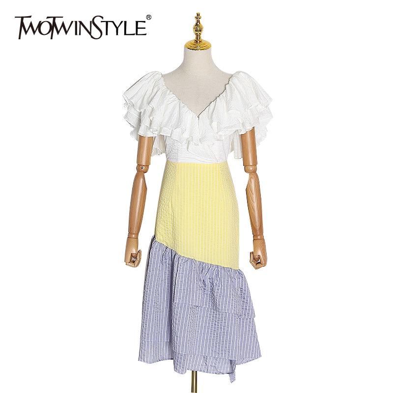 TWOTWINSTYLE Stripe Ruffle Hit Color Women's Dress V Neck Short Sleeve High Waist Dresses Female 2020 Spring Fashion New