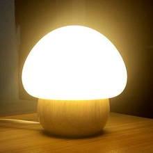 Night Light Wooden Base Colorful LED Silicone Mushroom Sleep Beside Light USB Eyecare Table nursery Lamp with Remote Control 3W