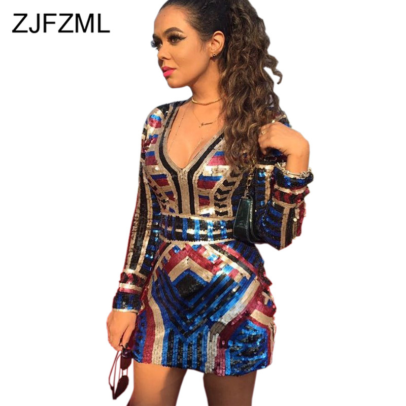 Sexy V Neck Colorful Sequin Dress Women Long Sleeve High Waist Short  Autumn Dress Party Night Club Bodycon Package Hip Dress
