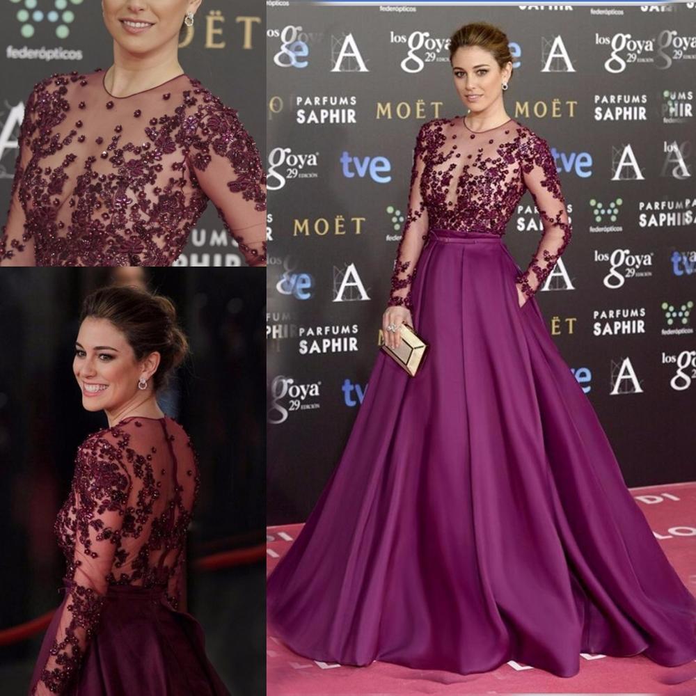 2020 Purple Long Sleeve Prom Dress Evening Gowns Elegant Formal Long Dresses Satin A Line Celebrity Formal Dresses Vestidos