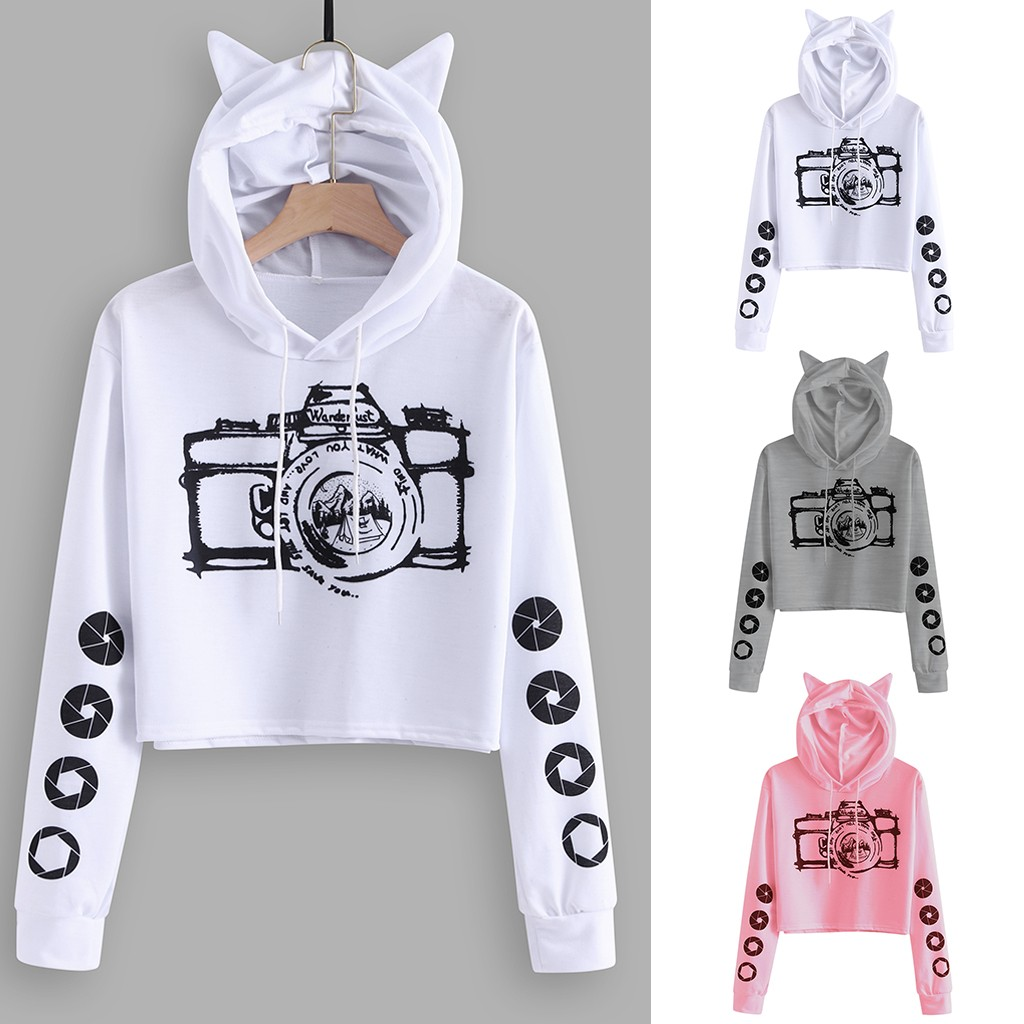 2020 Womail Sweatshirts Women's Kawaii camera Print Sweatshirt Pullover Hoodie Autumn winter sudadera mujer Women Sweatshirt s10