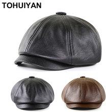 Chapeaux octogonaux en cuir pour hommes, casquette chaude de marque, Boinas détective, automne hiver