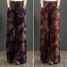 ZANZEA 2021 Vintage Printed Pants Women's Wide Leg Trousers Spring Casual Elastic Waist Long Pantalon Palazzo Plus Size Turnip