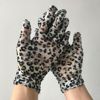 Women Thin Lace Sunscreen Gloves Sexy Leopard Elastic Cycling Gold Velvet Gloves Summer Sun UV Protection Driving Gloves E92