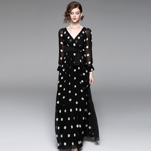 long sleeve floral dress  High quality summer shirt New Elegant Dot Print V-neck Maxi Dress Gauze