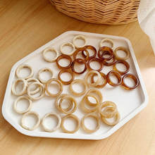 New Vintage Chic Transparent Round Geometry Acrylic Ring Minimalist Coffee Resin White Ring for Women Jewelry Party Gifts
