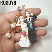 KUGUYS Cute Pearl Crystals Bridegroom Bride Earrings for Womens 5 Style Resin Simulation Drop Earring Trendy Jewelry Accessories cute resin bride and bridegroom toy doll