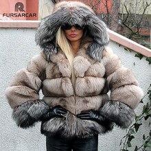 Fursarcar mulher real azul prata raposa casacos de pele com capuz retalhos jaqueta de inverno feminino para senhora genuína pele natural hoodie