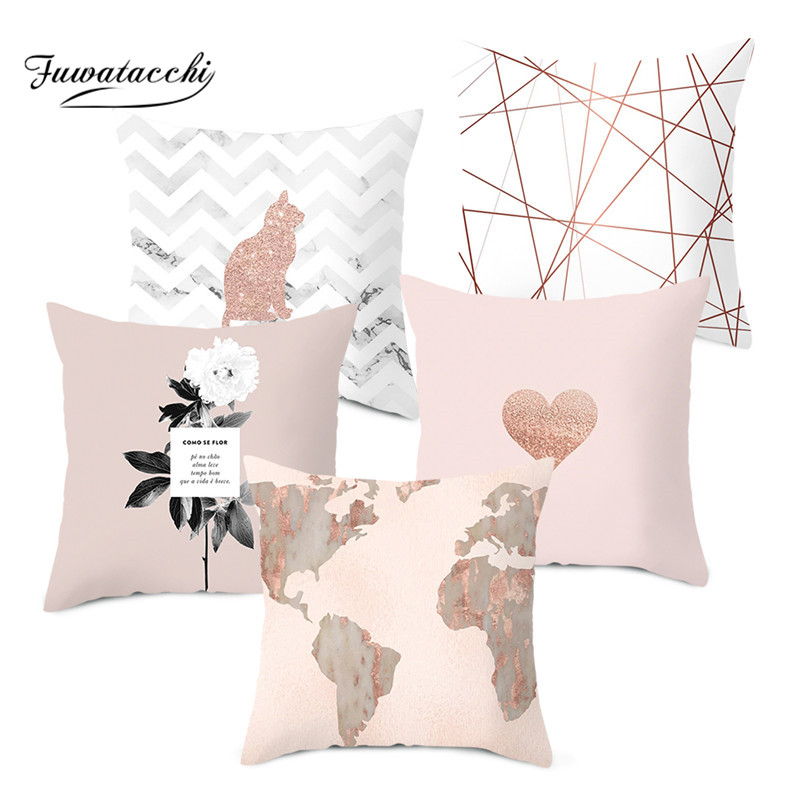 Fuwatacchi Rose Gold Geometric Cushion Cover Flower Decorative Pillows Cover For Home Sofa Bed Polyester Throw Pillowcases 45*45