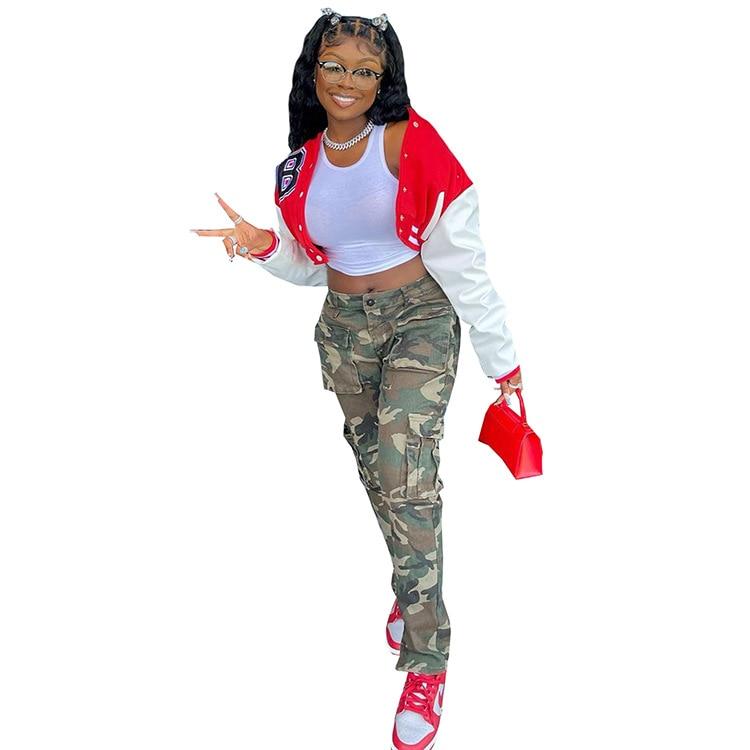 Ha94983aea64c41c3bc03f2754e4e7210I Baseball Jackets for Women 2021 Autumn Letter Print Color Patchwork Cropped Long Sleeve Loose Short Bomber Jacket