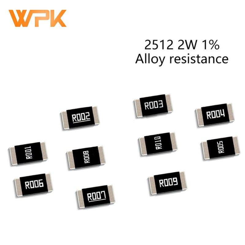 50Pcs 2512 2W SMD Legierung Widerstände Set 1% Toleranz 0,001 R 0,009 R 0,01 R 0,06 R 0,15 R 0,2 R 0,39 Ohm Niedrigen Niederohm Chip Widerstand Kit
