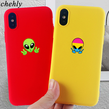 Fashion Alien Phone Case for iPhone X XR XS Max 8 7 6 S Plus Anime Cases Soft Silicone Fitted Mobile Accessories Covers