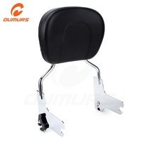 OUMURS Motorcycle Passenger Backrest Sissy Bar Chrome Cushion Pad For Harley Street Electra Glide Road King Touring 1997 2008