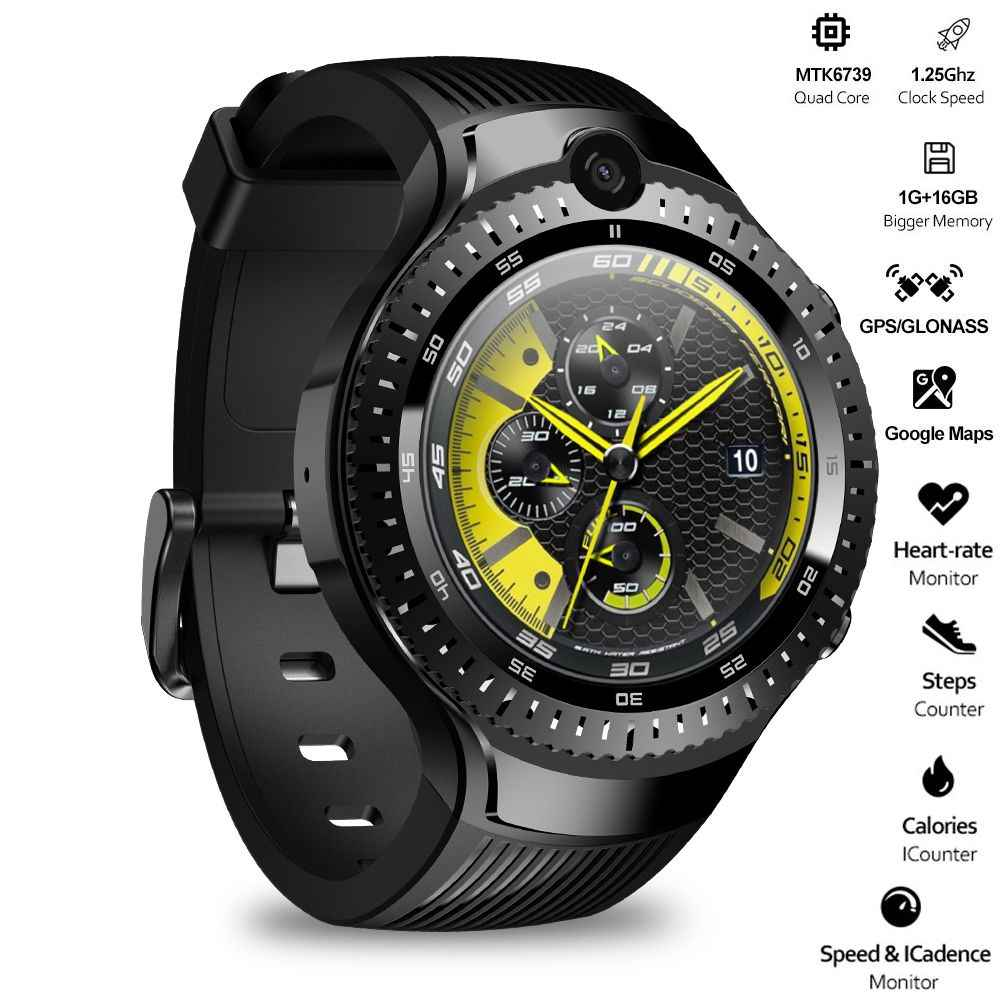 "Zeblaze THOR 4 double montre intelligente 4G LTE Android Quad Core 1GB + 16GB double caméra 1.4 ""AOMLED GPS/GLONASS WiFi fréquence cardiaque Smartwatch"