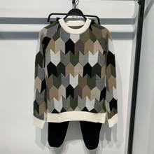 Мужской осенне зимний Повседневный трикотажный жаккардовый свитер