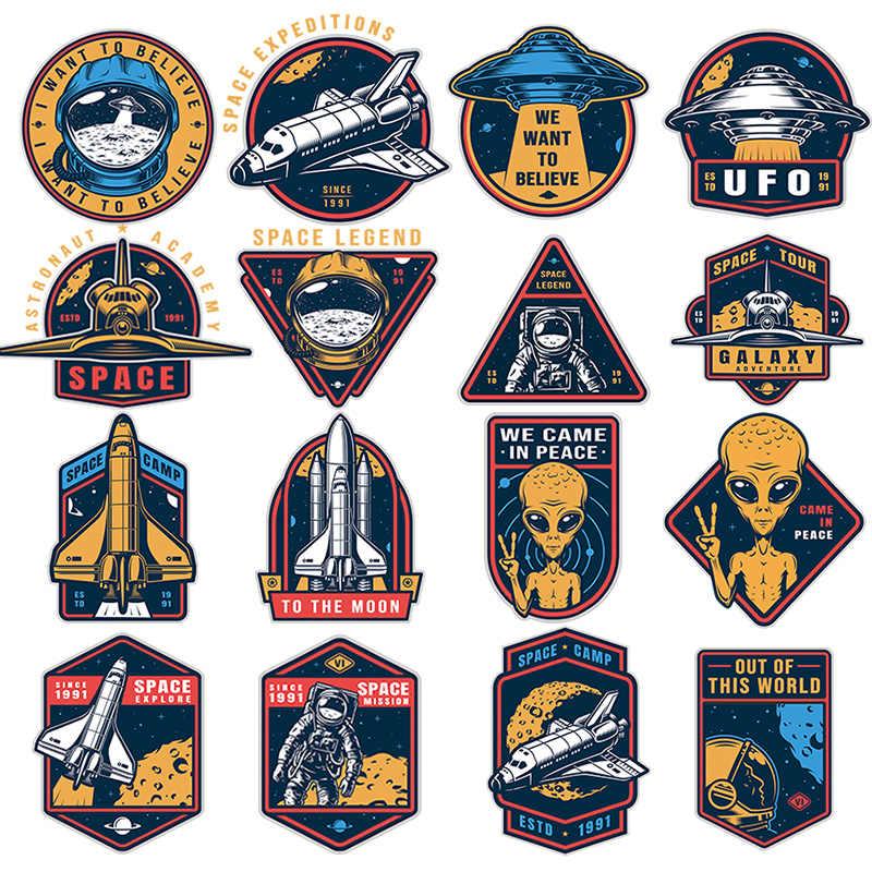 Nicediy UFO Alien Patch Perpindahan Panas Vinyl Stiker Astronot Alam Semesta Besi Pada Transfer untuk Pakaian Thermal Transfer Bordiran