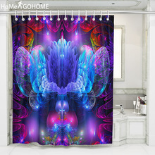 Blue Ombre Artistic Flowers Psychedelic Shower Curtains Indian Mandala Hippie Bathroom Curtain Boho Decor Bath Abstract