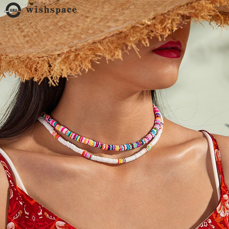 Wishspace. Handmade beaded Bohemia summer beach leisure choker necklace women fashion jewelry wholesale