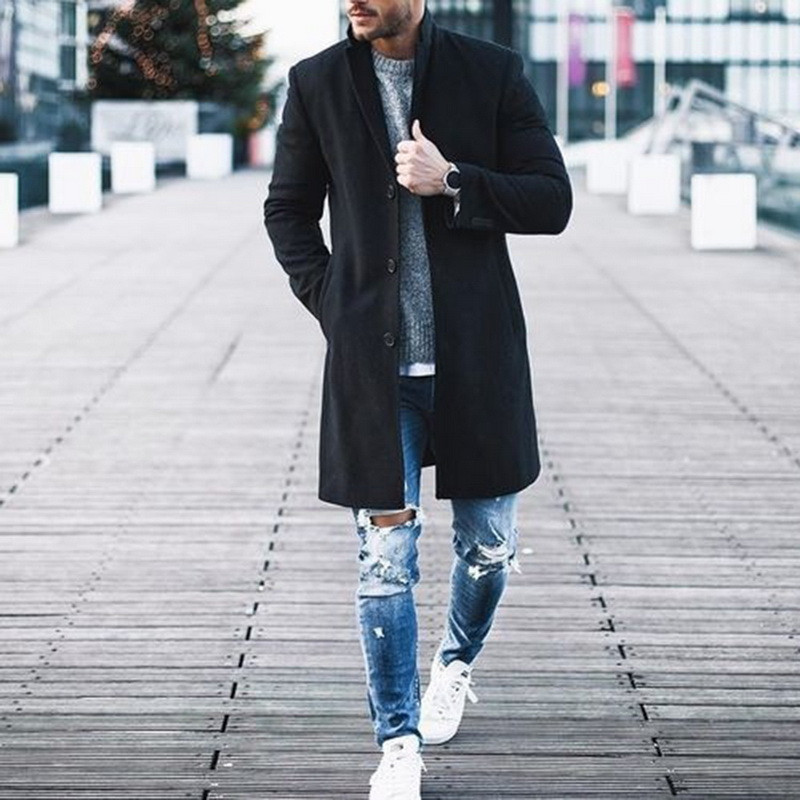 Fashion  Men's Wool Casual Coat Winter Trench Coat Outwear Overcoat Long Sleeve Warm Jacket Male Tops M-XXXL