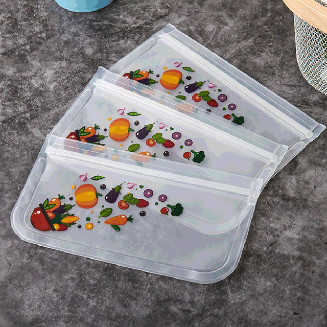 1PCS Food Storage Bag Reusable Freezer Bag PEVA Silicone Food Bag Leakproof Containers Reusable Kitchen Organizer Bag