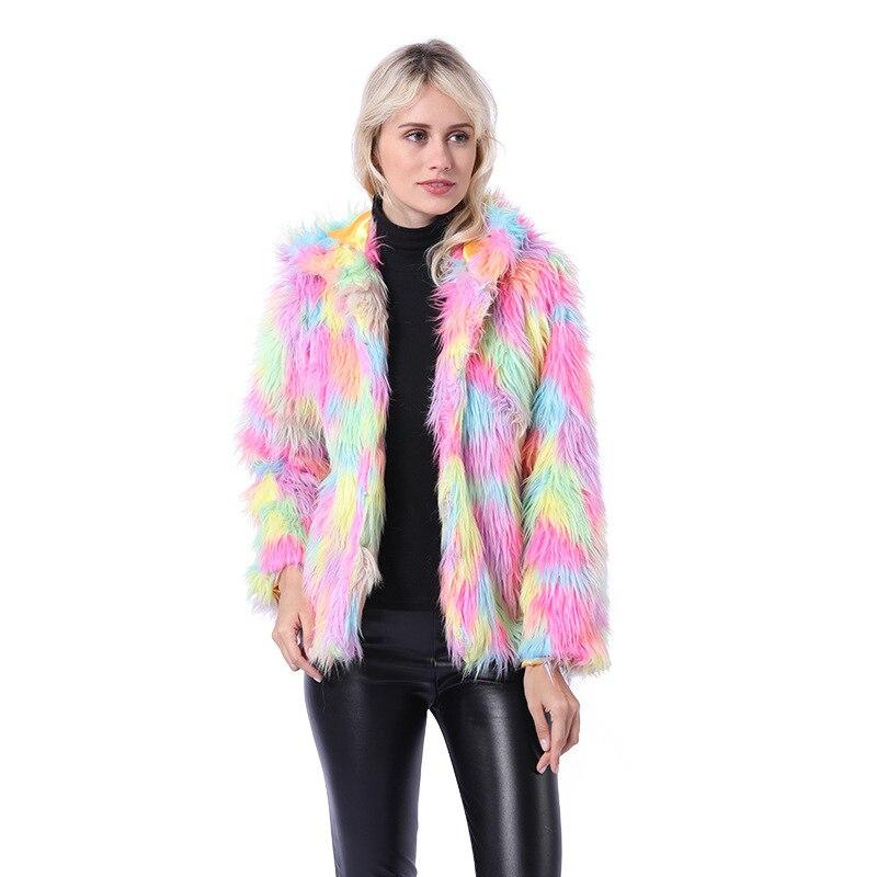 Grande taille femmes hiver fourrure manteau à capuche dégradé couleur fausse fourrure veste coloré moelleux chaud manteau d'extérieur veste poilue pardessus