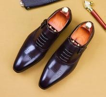 Mens Italian Dress Shoes Genuine Leather Handmade  Men Monk Shoe Office Formal Wedding Party Mens