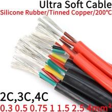 Quadrado 0.3 0.5 0.75 1 1.5 2 2.5 4mm cabo de borracha de silicone ultra macio 2 3 4 núcleos isolado fio de alta temperatura de cobre flexível