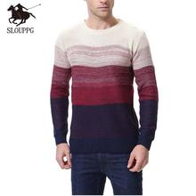 SLOUPPG New Autumn Winter Fashion Brand Casual Sweater O-Neck Striped Slim Fit Knitting Male Pollover Thin Clothes 2019