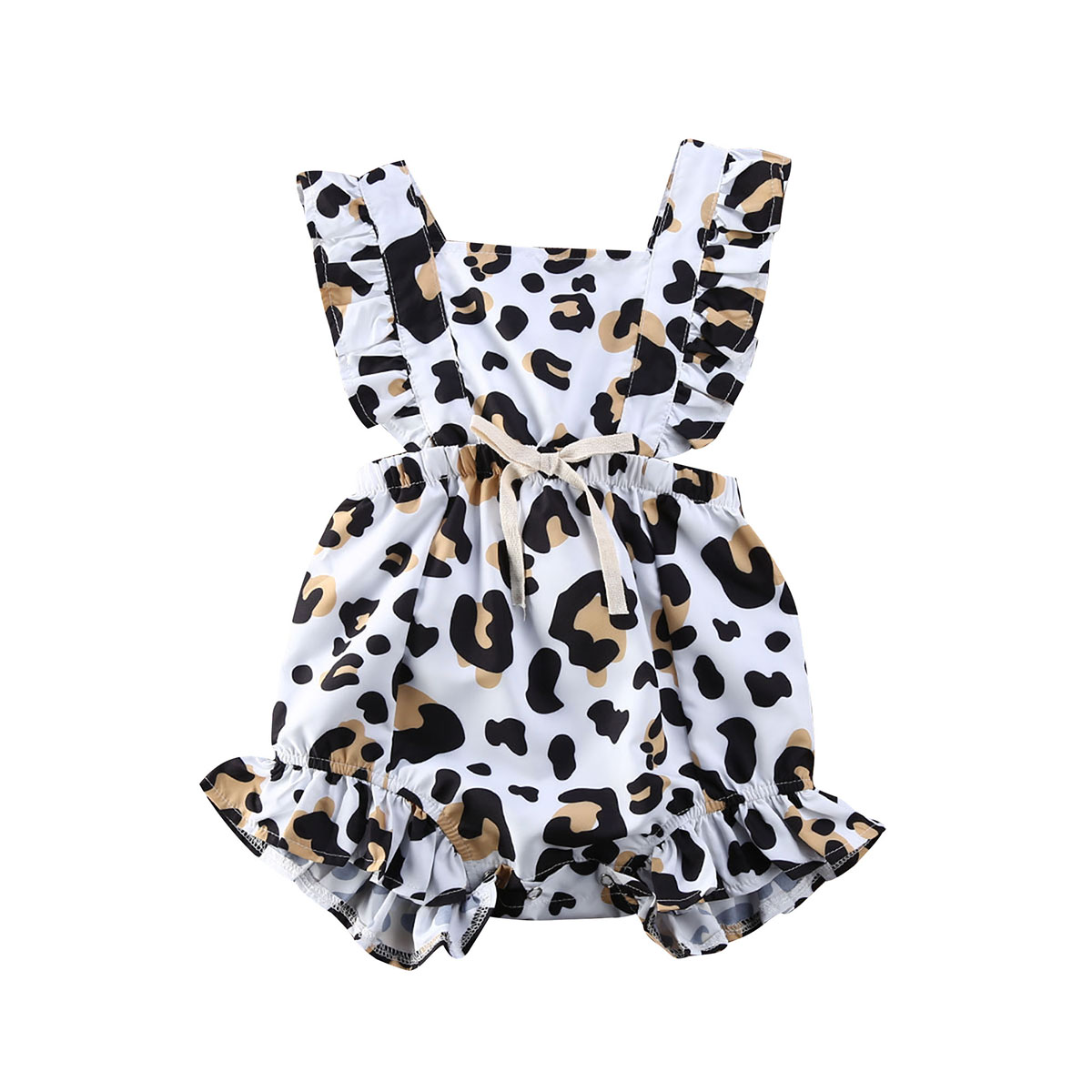 US Infant Baby Girl 3M-18M Summer Leopard Ruffle Romper Jumpsuit One Piece Outfit
