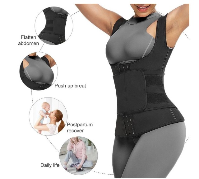 Wholesale Trainer Vest Women Neoprene Waist Trainer Sweat Sauna Suit Waist Cincher Slimming Adjustable Waist Trimmer Belt Hooks 2