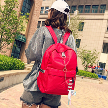 2019 Women Backpack Girl School Bag For Teenage College Wind Schoolbag High Travel Bags Black Canvas Chain Bundle