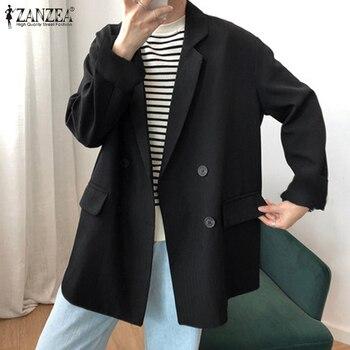 2020 Autumn Work Suits Blazers Women Elegant ZANZEA Casual Lapel Long Sleeve Thin Outwear Coats Blazer Jackets Female Plus Size - discount item  30% OFF Blazer & Suits