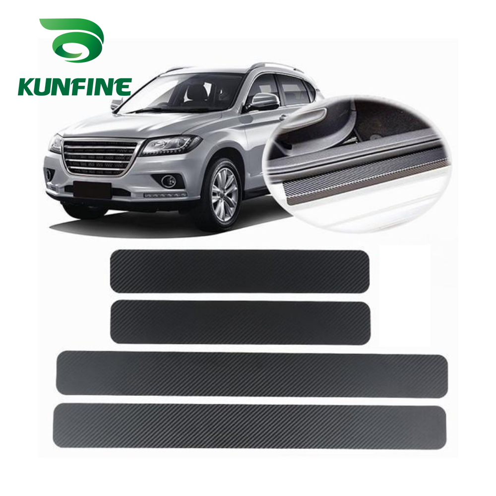 4PCS Universal  3D Carbon Brazing Car Pedal  Stickers Universal Sill Scuff Anti Scratch Carbon Fiber Auto Door Sticker Decals