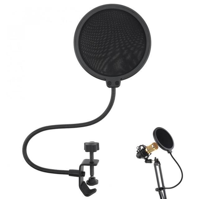 100mm diameter Double Layer Studio Microphone Wind Screen Mask Mic Pop Filter Shield for Speaking Studio Singing Recording