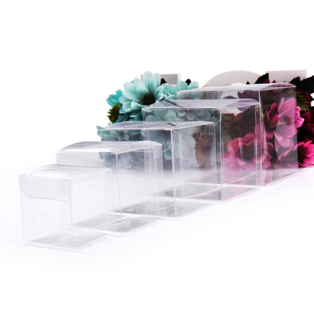 10pcs Square Clear PVC Boxes Wedding Favor Gift Box Transparent Party Candy Bags Chocolate Jewelry/Candy/Packaging Bag