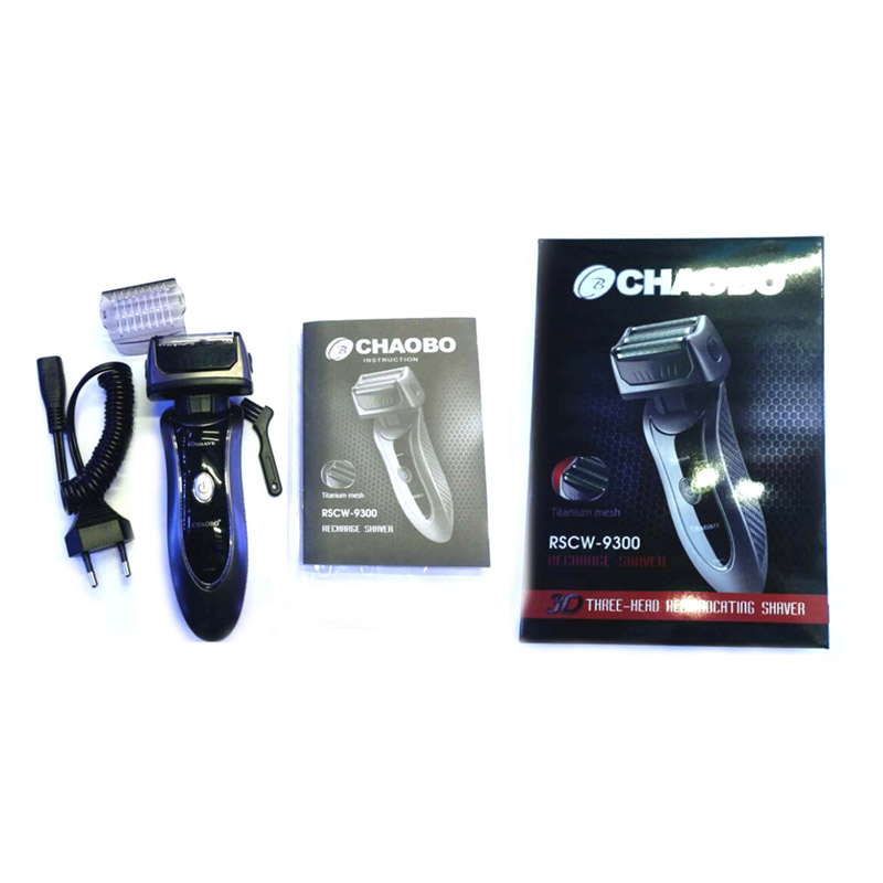 Chaobo RSCW-9300 Bolso Lâmina Cabeça 3 Maglev Motor Plug UE Barbeador Elétrico Recarregável Beard Barbear 3D Flutuante Navalha Para Os Homens