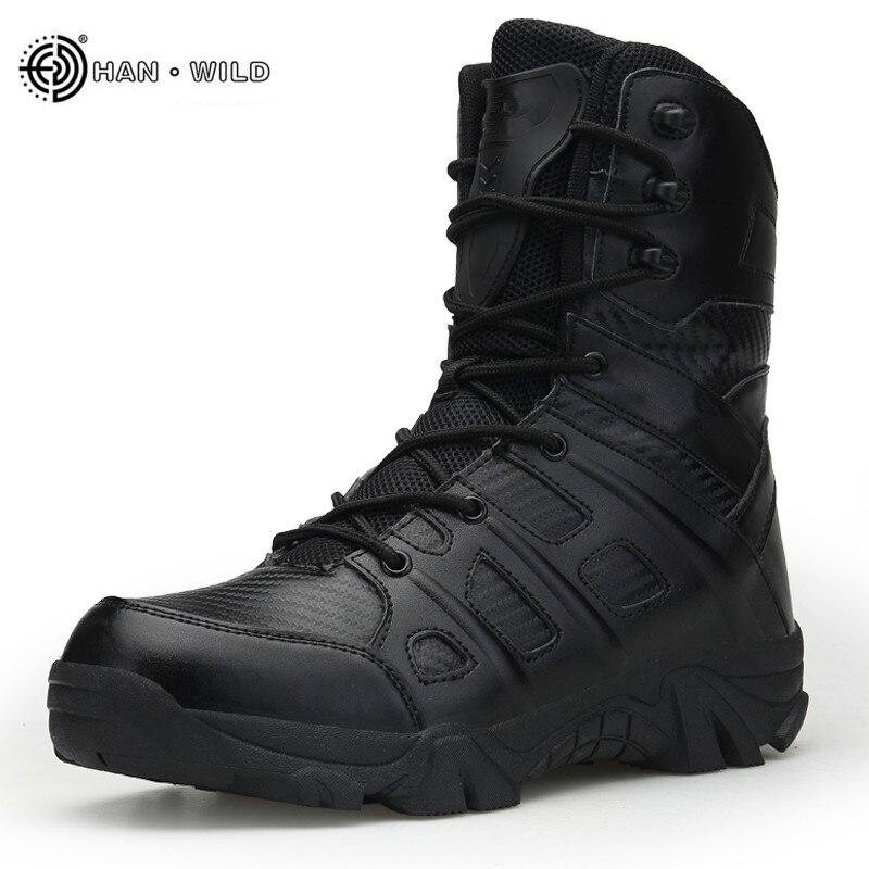 Männer Taktische Militärische Stiefel Winter Leder Wasserdicht Wüste Kampf Armee Arbeit Schuhe Mens Ankle Boot Mann Plus Größe